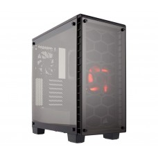 CORSAIR Crystal 460X Compact Mid-Tower Case, Red LED Fan, Tempered Glass - Black