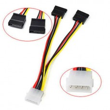 5inch 4 Pin 4-Pin Molex to 15 Pin 2 SATA Power Y Splitter Cable Wire Cord