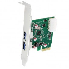 USB 3.0 PCI Express PCI-E Card HUB Adapter PCIE 2 Port Controller W Power Port